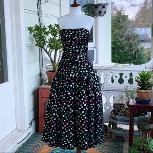 1980s Victor Costa Strapless Polka Dot Party Dress